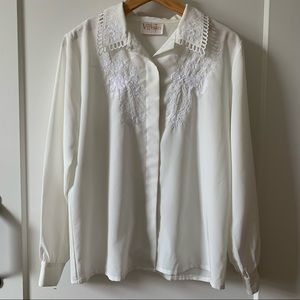 Vintage white cream blouse embroidered collar